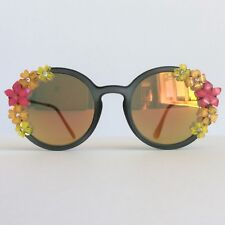Hawaiian Sunset - PinksAndMinks Mirror Embellished Sunglasses Flower Rhinestones