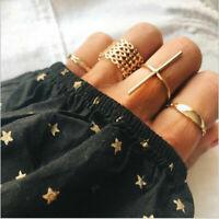 7 Pcs Gold Finger Ring Set Vintage Punk Boho Knuckle Rings Women Jewelry