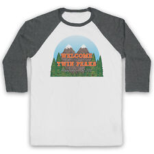 TWIN PEAKS WELCOME TO SIGN POPULATION 51201 CULT TV 3/4 SLEEVE BASEBALL TEE
