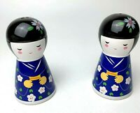 Vintage Asian Ladies Salt & Pepper Shakers Porcelain Flower Dress