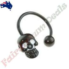 16G 316L Surgical Steel Black Anodised Horse Shoe Barbell with Skull & Ball Ends