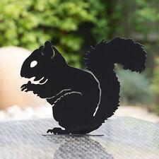 Black Metal Squirrel Silhouette Stake Decorative Garden Art Ornament Decoration