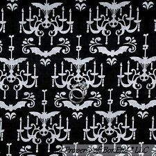 BonEful Fabric Cotton Quilt Black White B&W Skull Damask Gothic Girl Boy L SCRAP