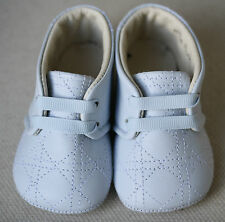 BABY DIOR BLUE LEATHER SLIPPERS SHOES EU 17 UK 1