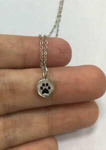 TINY PAW NECKLACE .925 Sterling Silver Paw Charm Dog Cat Animal Woman Girl Teen