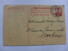 ENTIER  POSTAL  1911  SUISSE GENEVE  BORDEAUX   carte postale
