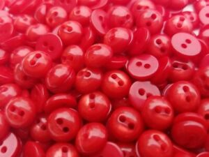 100 Red Pearly Dome Top Buttons, size 9mm, flat back, 2 hole, Free Shipping, USA