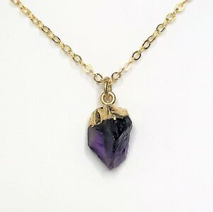 Raw Amethyst 14kt Gold Filled Pendant Natural Stone Women Birthday Gift Boxed