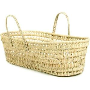 Moses Woven Basket Organic Palm Leaf Baby Bassinet Nursery Storage Natural Decor
