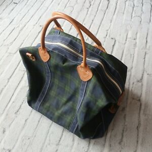Vintage LL Bean Plaid Boat and Tote Bag Leather Freeport Maine Big Large