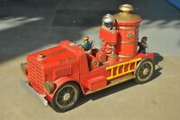 Vintage MT Trademark Litho F.D No. 7 Battery Fire Truck Tin Toy,Japan