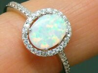 Solid Silver 925 Fiery Opal Cluster Ring size O