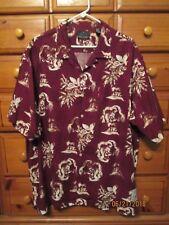 Mens GREG NORMAN Maroon Button Linen Blend Hawaiian Bowling Stretch Shirt Sz XL