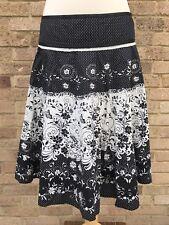 Black White Flare Skirt UK 10 Floral Polka Dot Boho Indie Summer Festival