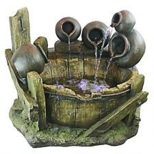 QN1638 - Urns and Barrel Cascading Waterfall Illuminated Garden Fountain