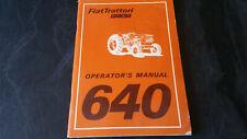 vintage tractor sales operators manual  fiat 640