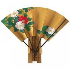 Sensu Japanese Bamboo fan Kyoto Handcraft Gold Tsubaki Camellia w/stand Japan