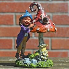 Garden Mushroom & Elf Small Outdoor Decor Novelty Sculpture Fairy Pixie 80270