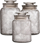 Style Setter Canister Set 3-Piece Jars in 1, 1.3  1.6 Liters Retro Design w/Air