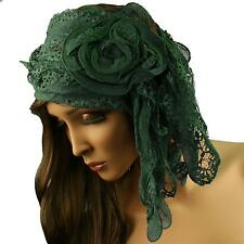 3D Rufflle Floral Lace Light Sheer Long Summer Scarf Headwrap Hip Wrap Teal