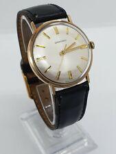 9ct Gold Garrard Mens Wristwatch 1979 - Black Leather Strap