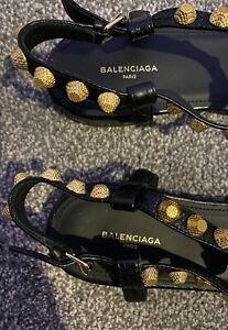 Balenciaga Ladies Black Leather Giant Gold T Strap Studded Sandals Fit Size 5UK