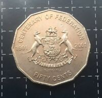 2001 AUSTRALIAN 50 CENT COIN CENTENARY OF FEDERATION - TASMANIA - TAS