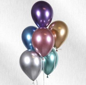 """5 x 12"""" Chrome Balloons Colours Latex Balloon Birthday Celebration Party Helium"""