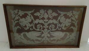 Antique Victorian Mahogany and Velvet Tray with Birds