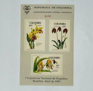 Vintage 1967 Republica De Colombia Floral Stamps Souvenir Sheet Mint