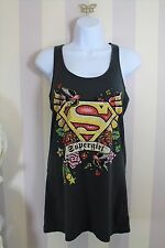Supergirl Retro Tattoo Rockabilly Pin-up Embellished Racerback Tank Top 10