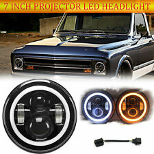 "7"" Projector Round LED Headlight Amber Halo DRL for Chevy C10 C20 C30 G10 G20"