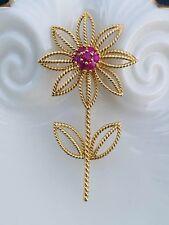Tiffany & Co 18K Gold Ruby Flower Pin Brooch