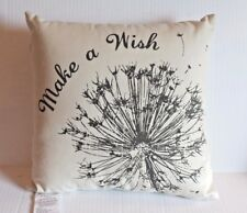 """""""Make A Wish"""" Dandelion Flower Natural Beige & Brown Square Throw Pillow NEW"""