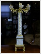 Antique Dore Over Bronze and Crystal Lamp, A Beautiful 6 Candle Holders