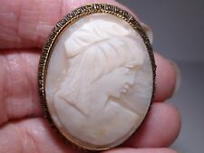 Antique Edwardian 1890'S Gold Plated Cut Steel Carved Shell Cameo Pendant/Pin!