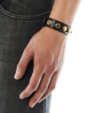 New Authentic SAINT LAURENT Black Leather De Force Gold-Studded Cuff Bracelet S