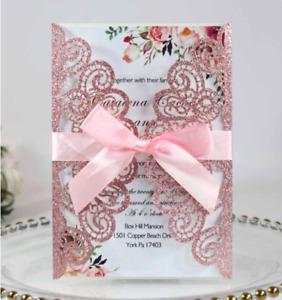 10pcs Laser Cut Party Glitter Invitations Card Birthday Wedding Engagement Bride