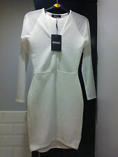 BNWT BEAUTIFUL WHITE RIBBED, LONG SHEER SLEEVED DRESS, SIZE 8