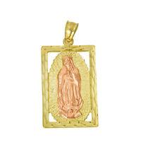 14k Yellow Rose Gold Virgin Mary Diamond Cut Small Charm Pendant