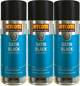 3 x HYCOTE SATIN BLACK SPRAY PAINT AEROSOL CAR MULTI-PURPOSE PREPARATION 400ML