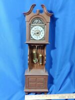 Spartus VTG Retro MCM Mini Grandfather Clock Wall Hanging Plastic Pendulum 23""