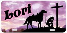 Personalized Monogrammed License Plate Auto Car Tag Cowgirl Cross Horse Pink