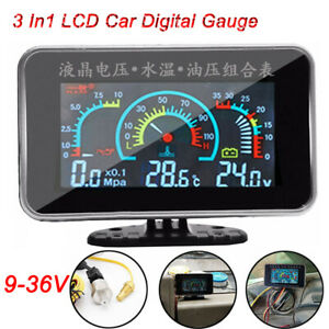 3 in 1 LCD Digital Gauge Voltmeter/ Oil Pressure/ Water Temperature Meter 12-24v