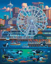 DOWDLE FOLK ART COLLECTORS JIGSAW PUZZLE SEATTLE GREAT WHEEL 500 PCS #00329