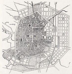 D9210 Bologna IN Part Antique - Map Period - 1923 Vintage Map
