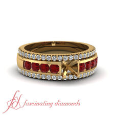Channel Set Engagement Ring Settings With Ruby Wedding Bands In Yellow Gold