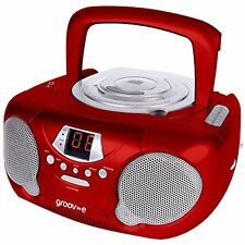 Groov-e Boombox Portable CD Player with Radio & Headphone Jack - Red