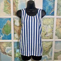 J. Crew Factory Womens Sleeveless Blue Stripe Tank Top Crisscross Linen SIZE XS
