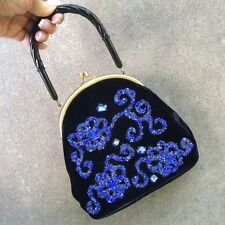 Fabulous Vintage 50s Veldore of Houston Evening Bag Purse Velvet Hand Decorated